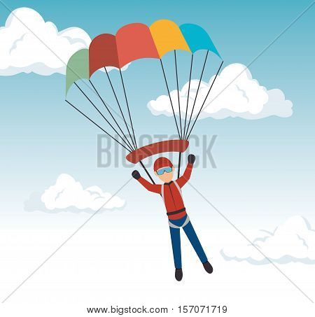 man parachute extreme sport design vector illustration eps 10