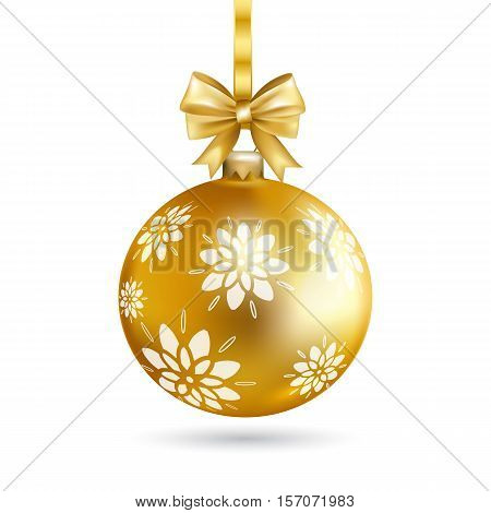 Gold Christmas ball with bow and decorative pattern isolated on transparent background. Holiday christmas toy for fir tree. Vector illustration.