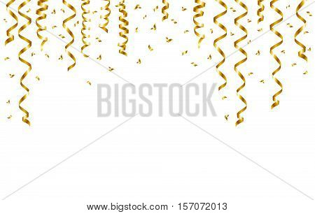 Gold serpentine and confetti isolated on white background. Vector illustration.