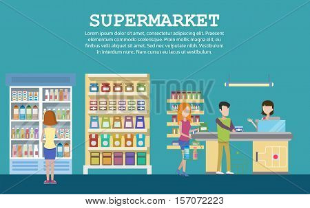 Supermarket interior with grocery, milk packs in fridge, cashbox. Shop or mall with shopping people, counters in supermarket aisle and shopping carts. Good for supermarket shopping and consumer theme