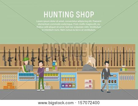 Hunting shop interior with rifle and gun weapon. Supermarket or store with hunt equipment, hunting shop with cashbox and showcase. May be used for store logo or hunting shop banner, hunt theme