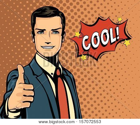 Cartoon businessman and bubble speech, thumb up gesture. Onomatopoeia man or manager with message cool in speech bubble, May be used for business and businessman theme, comic speech