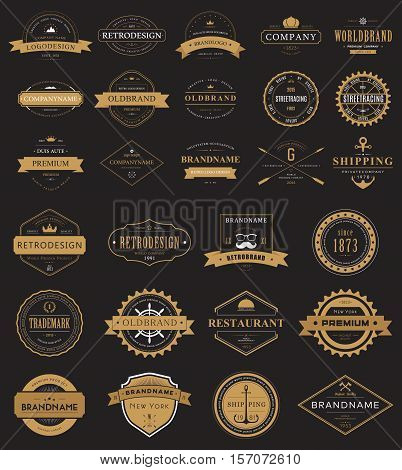 Set of vintage labels logo with crown and anchor, arrow and ribbon. Restaurant logo or shop banner, store label. May be used for premium old badge or classic product certificate.