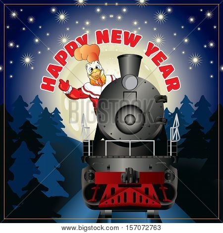 banner of a illustration of rooster in clothing Santa Claus on a steam locomotive with congratulation Happy New Year