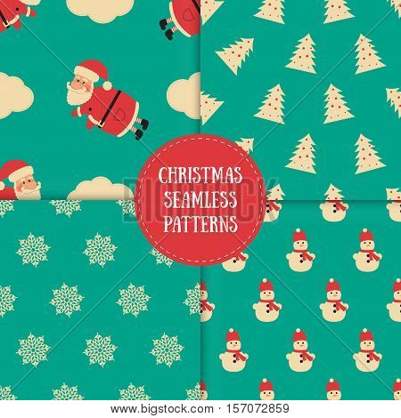 Set of winter seamless patterns with decorative elements. Awesome holiday vector backgrounds. Christmas textures for your surface design wallpapers fabrics wrapping paper etc.