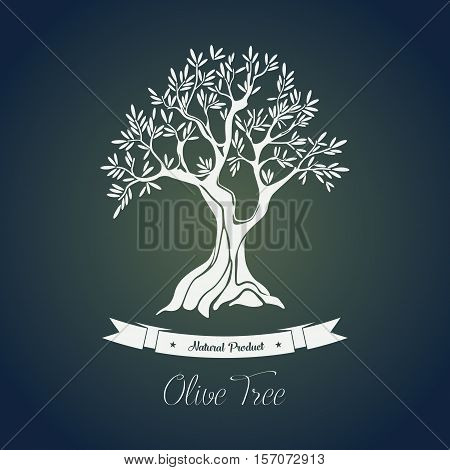 Branches on tree with olive oil berry. Olive tree greece logo vector illustration. Perfectly fit for agriculture and cultivation, ancient greece theme and olive oil bottle sticker or label, shop logo