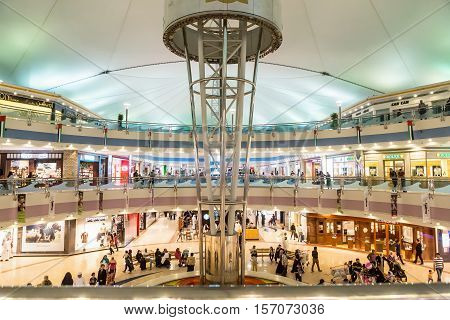 ABU DHABI - NOVEMBER 4 2016: Luxury glass interior shopping center Marina mall in Abu Dhabi UAE. Marina Mall is Abu Dhabi's premium shopping mall and entertainment landmark. Marina Mall. Abu Dhabi. AEU