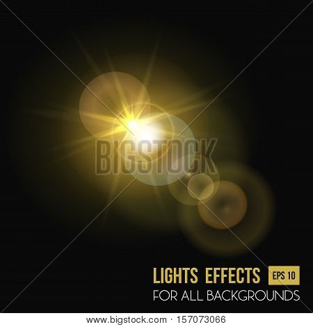 Sunbeam shining through lens, sun light effect. Abstract sunlight radiance of beam light effect background, illumination of star. May be used for sunset or sunshine light effects, flyer background