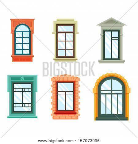 Old window frames view isolated on house wall. White wood or wooden detailed window with curtains isolated illustration. May be used for plastic window architecture design outdoor view