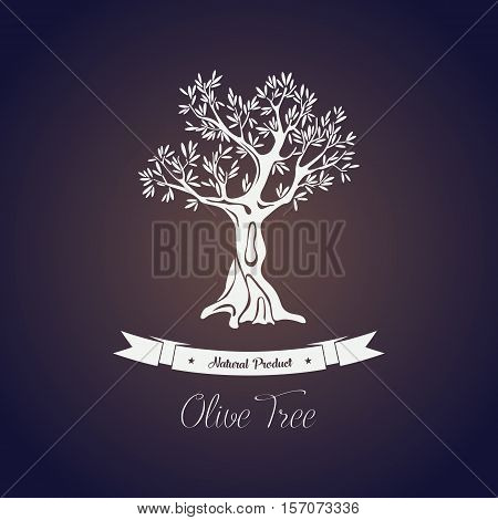 Stems with olive oil fruits on ancient greece tree. Organic and natural olive berry for paint or food oil liquid. For agriculture theme, olive oil bottle sticker or label, grove or shop logo