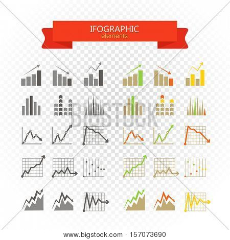 Graphic business ratings and charts collection. infographic elements on