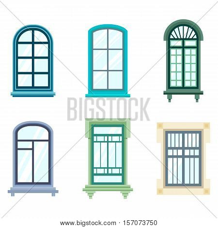 Set of isolated house window frames. Wood old window frame design exterior view. May be used for balcony or architecture, house construction theme, house glass window view from street