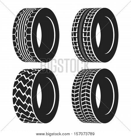 Truck or tractor, car tire or automobile wheel. Protector with different traces or tread pattern for sport cars or tire for lorries. Ideal for tire shop logo or vulcanization banner, car garage sign