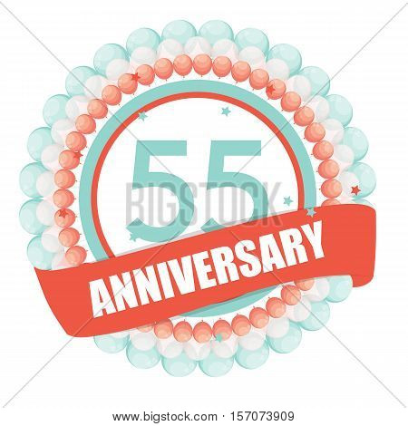 Cute Template 55 Years Anniversary with Balloons and Ribbon Vector Illustration EPS10