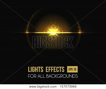 Light effect of sun at horizon halo with lens. Round lens illuminated by sun at sunset or sunrise. May be used as flyer or poster background, sun beam sunlight effect and light document backdrop