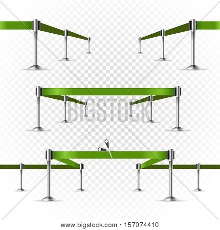 Photorealistic bright stage with projectors and ribbon. Presentation vector template. Vector ribbons set on transparent