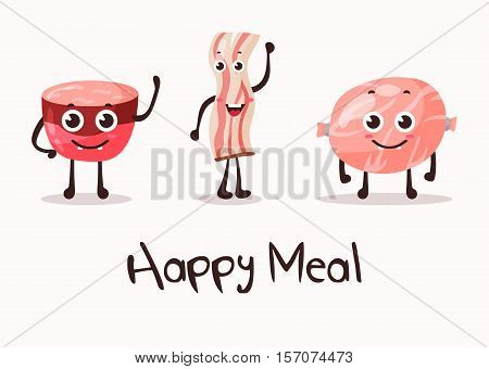 Cartoon meat food character, beacon steak and sausage. Beef and pork sausage with smiley face and fat or lard, prepared meat with hands. May be used for meat shop banner or sausage market logo