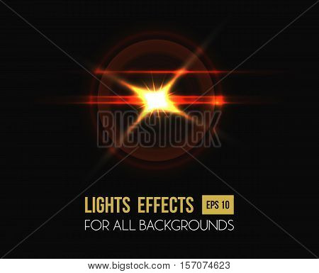 Sun shining through round lens background. Shining sunlight beam at sunset or sunrise for background template, star flash. Good for poster or sun backdrop, illuminated light flash or lens flare