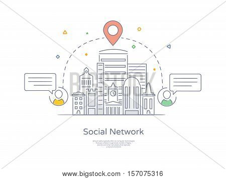 Premium Quality Hand drawn Line Icon And Concept Set: City social network, Urban landscape, Group of connecting people via social network.