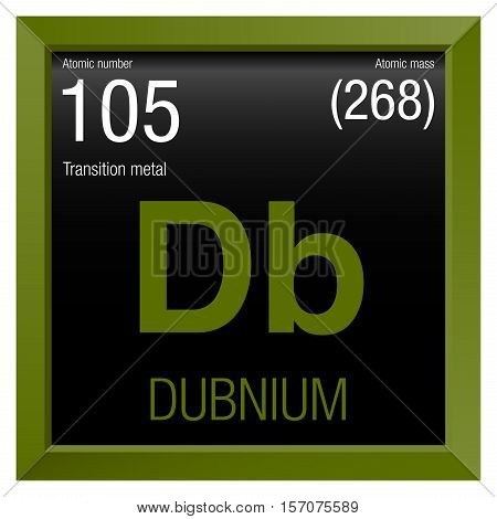 Dubnium symbol. Element number 105 of the Periodic Table of the Elements - Chemistry - Green frame with black background