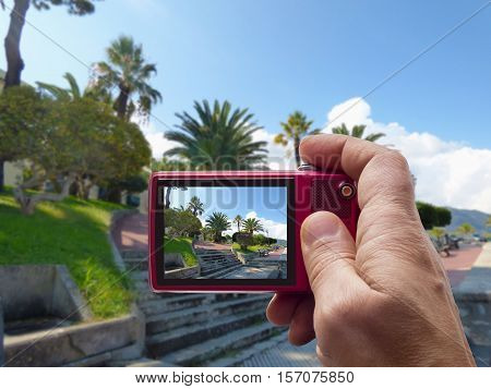 Landscape of Gioiosa Marea at Sicily in camera viewfinder