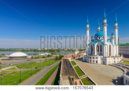 Kazan, Russia - June 11, 2016: View of the Qol sharif Mosque, the Kazanka River and the building of the circus, Kazan, Russia.