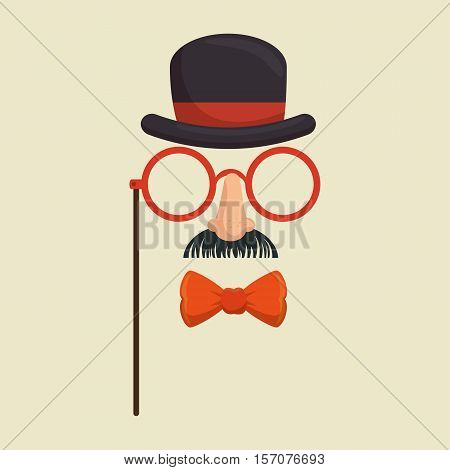 mask gentleman hat and glasses mustache bowtie vector illustration eps 10