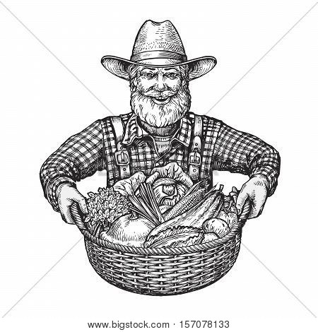 Happy farmer with a basket of vegetables. Hand drawn sketch vector illustration isolated on white background