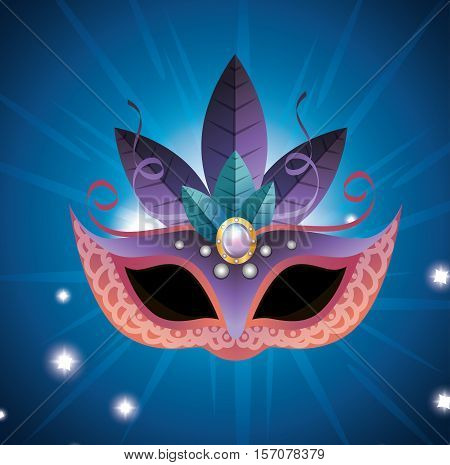 female carnival mask blue and purple feathers bright vector illustration
