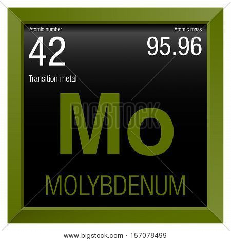 Molybdenum symbol. Element number 42 of the Periodic Table of the Elements - Chemistry - Green frame with black background