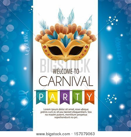 welcome carnival party mask bright banner vector illustration eps 10
