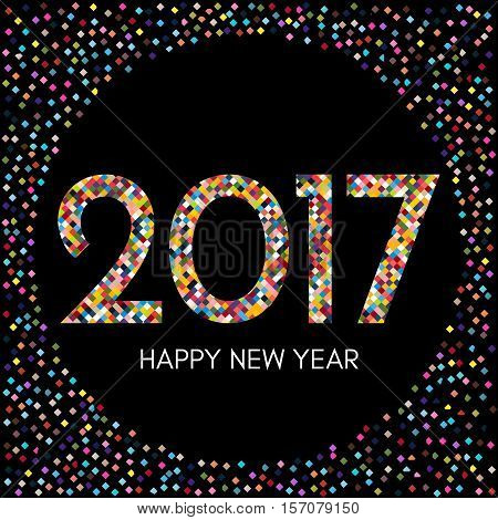 Happy New Year 2017 label with colorful confetti on black background. New Year and Xmas Design Element Template. Vector Illustration.