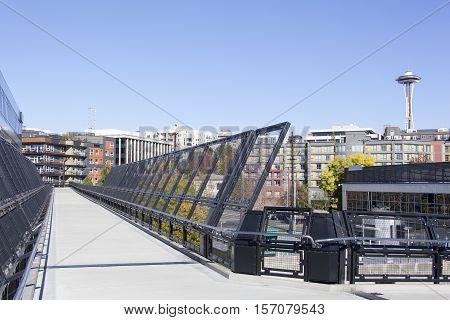 The pedestrian bridge walkway over the railroad in Seattle (Washington).