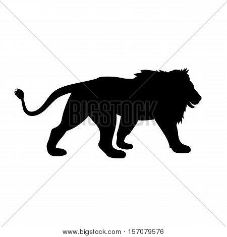 lion vector illustration  black silhouette profile side