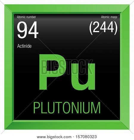 Plutonium symbol. Element number 94 of the Periodic Table of the Elements - Chemistry - Green frame with black background