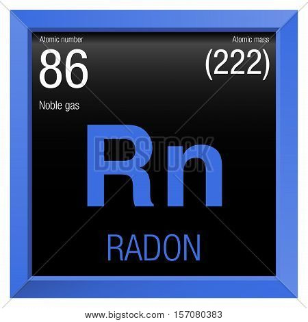 Radon Symbol. Element number 86 of the Periodic Table of the Elements - Chemistry - Blue frame with black background