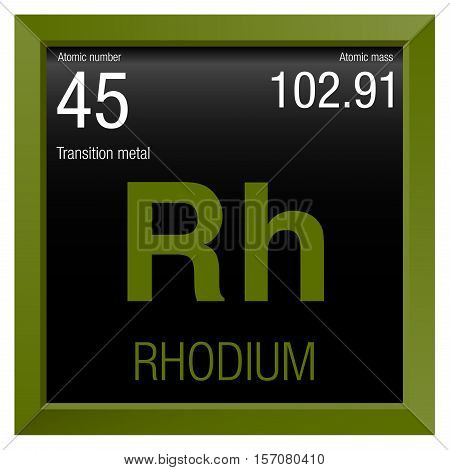 Rhodium Symbol. Element number 45 of the Periodic Table of the Elements - Chemistry - Green frame with black background