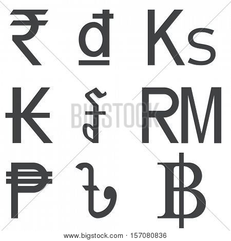 Set of Southeast Asia Countries currencies symbols isolated on white background. Black and white Asian money sign shapes. Vector EPS10 illustration.