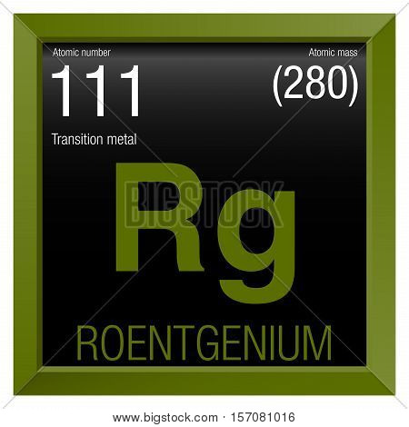 Roentgenium Symbol. Element number 111 of the Periodic Table of the Elements - Chemistry - Green frame with black background