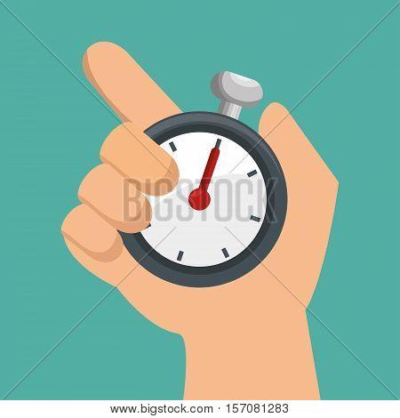 hand holds chronometer sport design vector illustration eps 10