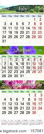 calendar for three months July August and September 2017 with images. Calendars for mass printing and using as wall calendars in office life