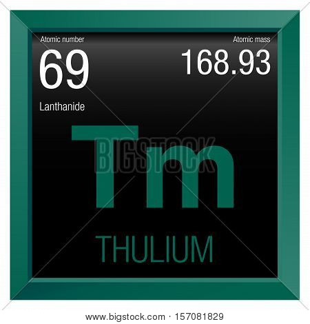 Thulium symbol. Element number 69 of the Periodic Table of the Elements - Chemistry - Green frame with black background