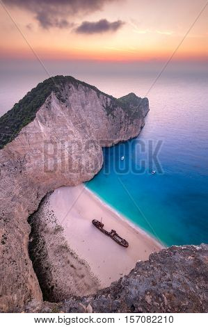 Landscape view of famous Shipwreck (Navagio) beach on Zakynthos Greece