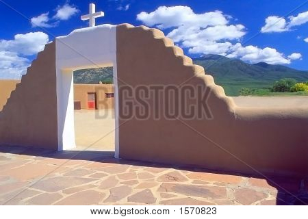 St. Jerome Church Entrance At Taos Pueblo, Taos, New Mexico