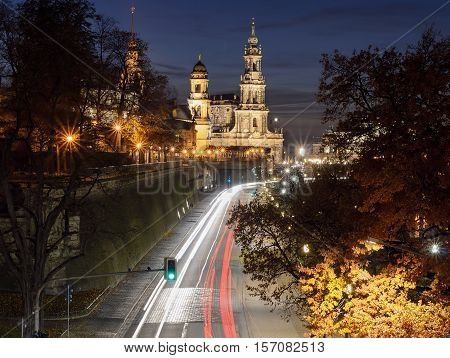The Elbe waterfront in the night. Dresden Germany Europe.