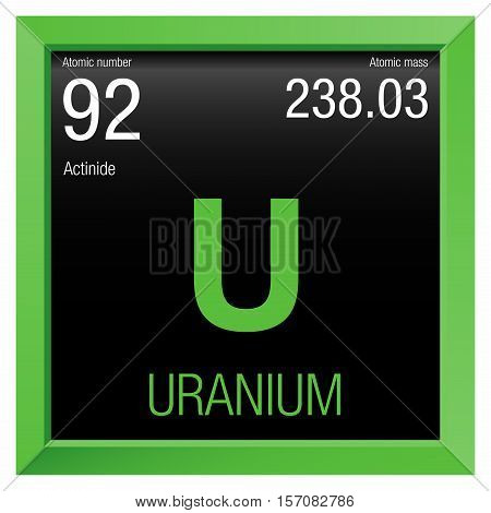 Uranium symbol. Element number 92 of the Periodic Table of the Elements - Chemistry - Green frame with black background