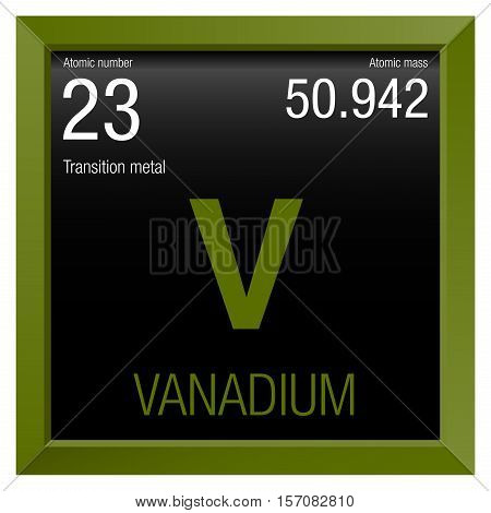 Vanadium symbol. Element number 23 of the Periodic Table of the Elements - Chemistry - Green frame with black background