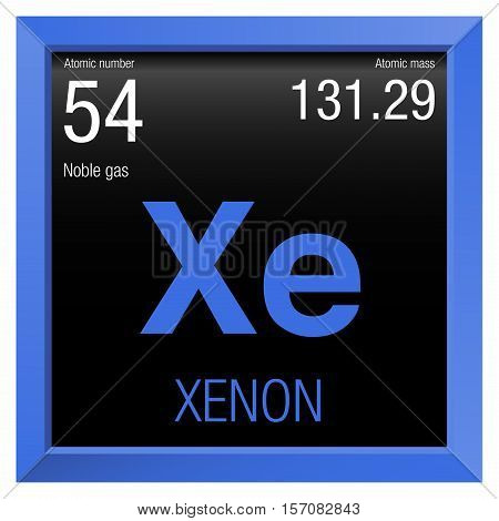 Xenon symbol. Element number 54 of the Periodic Table of the Elements - Chemistry - Blue frame with black background
