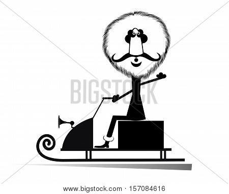 Cartoon man rides on the snowmobile illustration