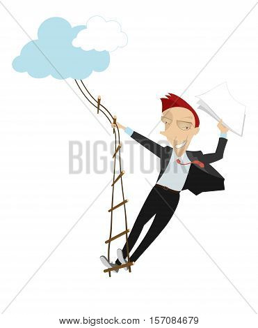 Stairway to success. Man with papers in his hand swarms up on the rope ladder to the clouds